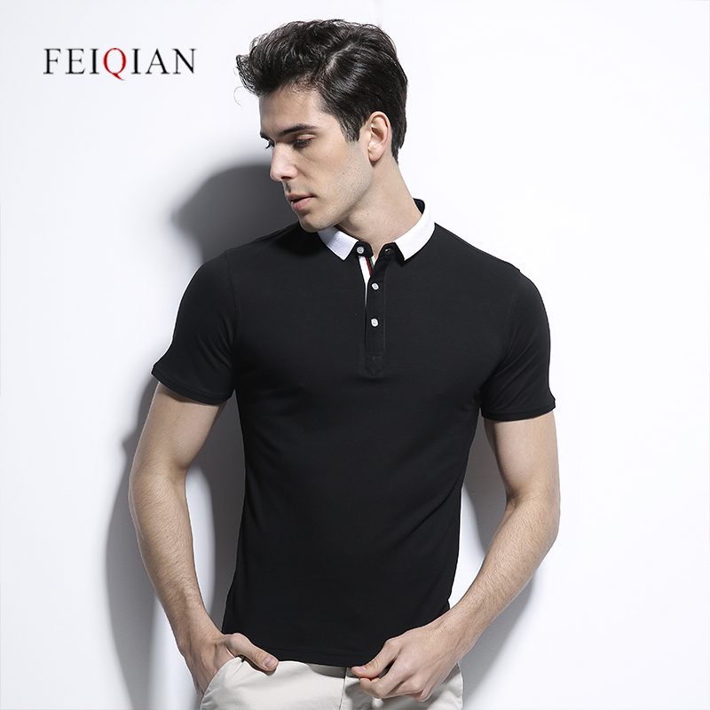 Korean version of the influx of summer men's solid color short sleeve t-shirt lapel casual cotton slim p olo shirt half sleeve short sleeve t-shirt