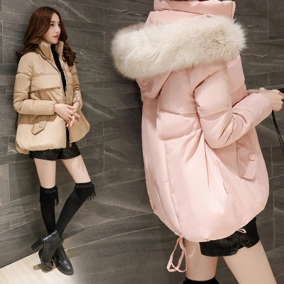 Get Quotations · Korean version of the influx of women oversized fur collar  hooded down padded female short paragraph bd82fb187