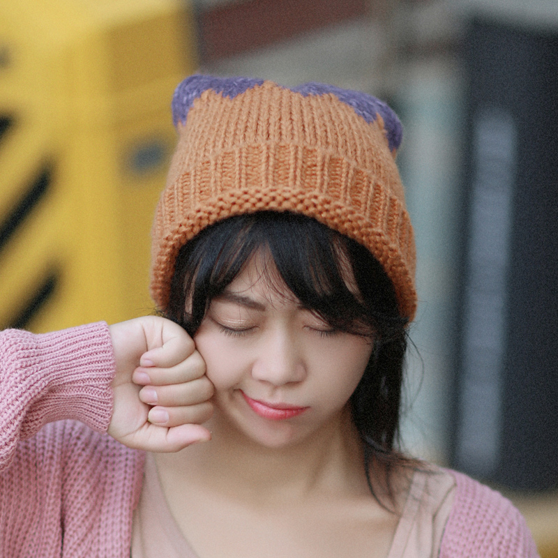 Korean version of the lovely students around the united states wild autumn and winter hat female winter warm wool cap knitted hat female