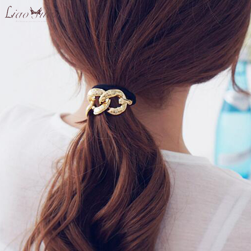Korean version of the metallic chain simple basic sweet temperament hair ring hair rope head ornaments korean hair tie hair ring hair accessories