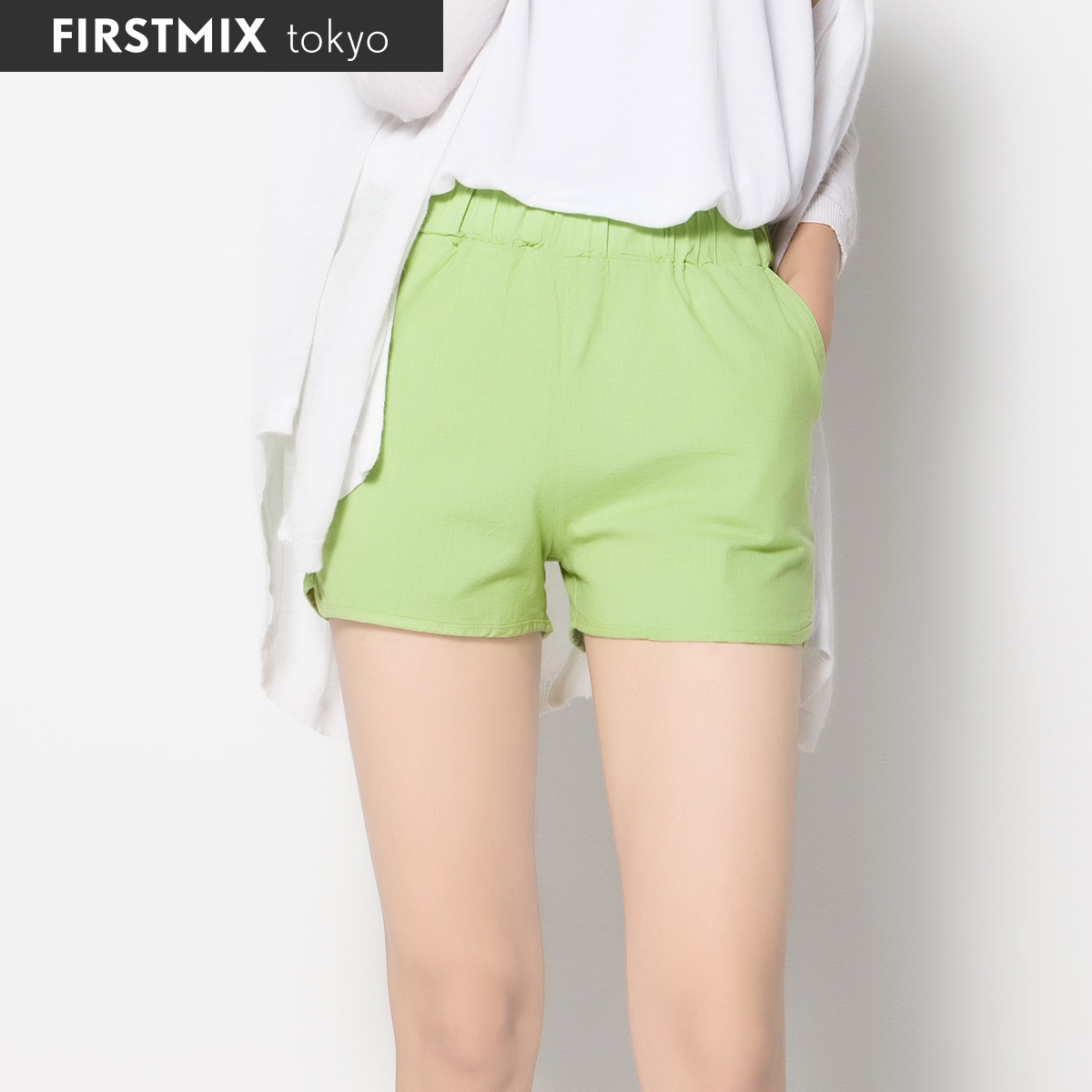 Korean version of the new female summer linen wide leg linen shorts elastic waist pants candy colored leisure short pants thin section shorts