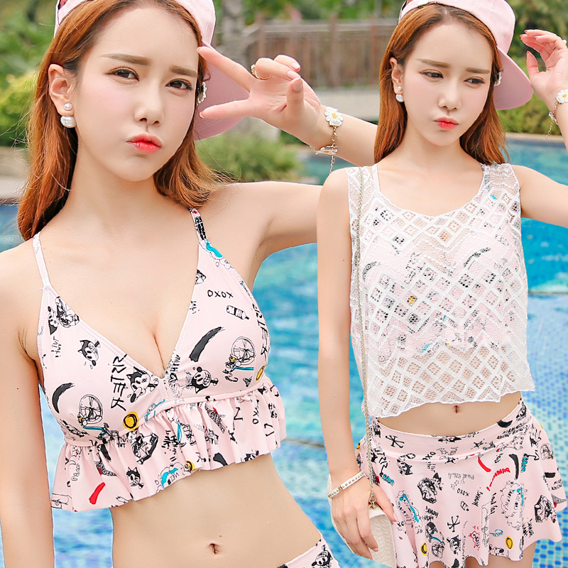 Korean version of the new swimsuit female split skirt style three sets of nigerian fresh fashion blouse steel prop gather small chest beach dress