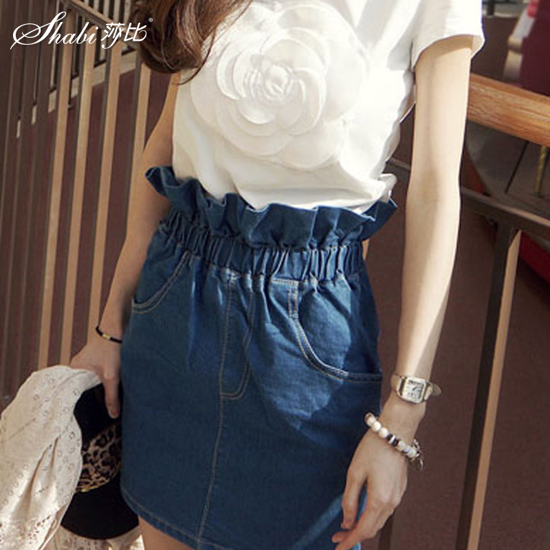 Korean version of the new three-dimensional flowers fresh roses cotton t-shirt + denim skirt casual fold half body