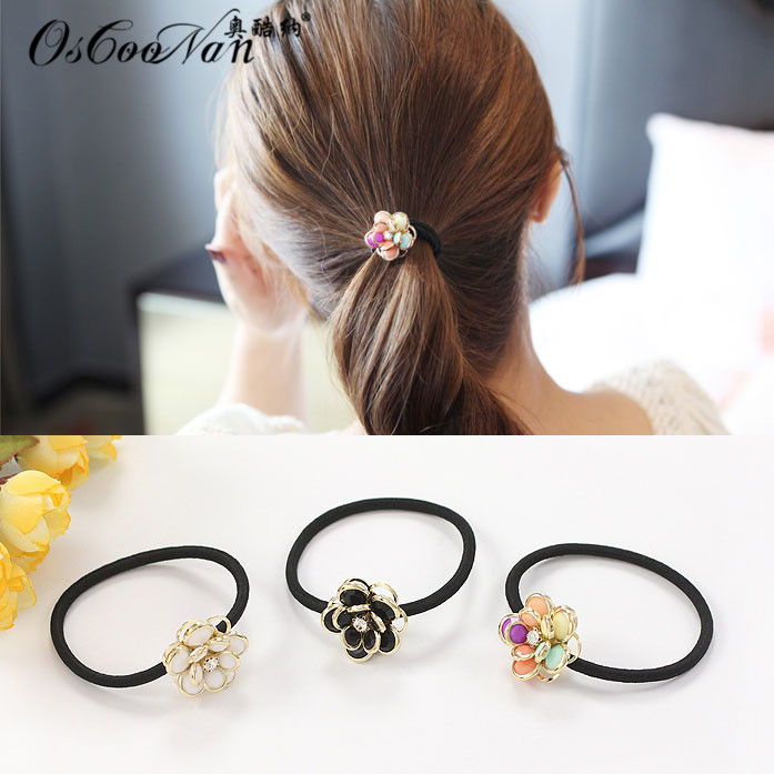 Korean version of the olympic cool satisfied color flower head flower hair band rubber band tousheng korean hair accessories hair tie hair ring hair rope headdress 6068
