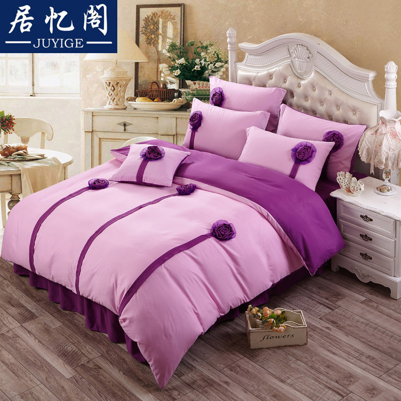 Korean version of the princess style solid color three-dimensional flowers 1.5 1.8 2.0 single or double bed skirt a family of four liu jiantao bedding