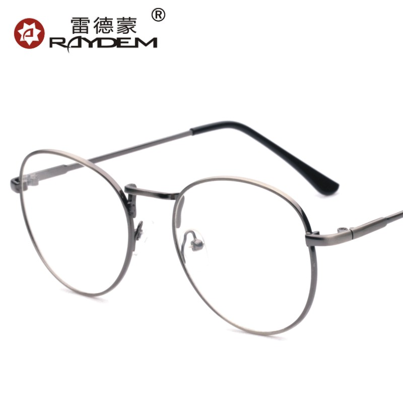 91897bb1e1d Get Quotations · Korean version of the retro male and female models lightweight  full frame metal plain mirror literary