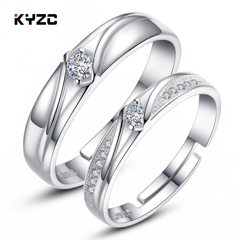 Korean version of the s925 sterling silver ring on the ring opening couple rings for men and women creative lettering wedding ring jewelry gift