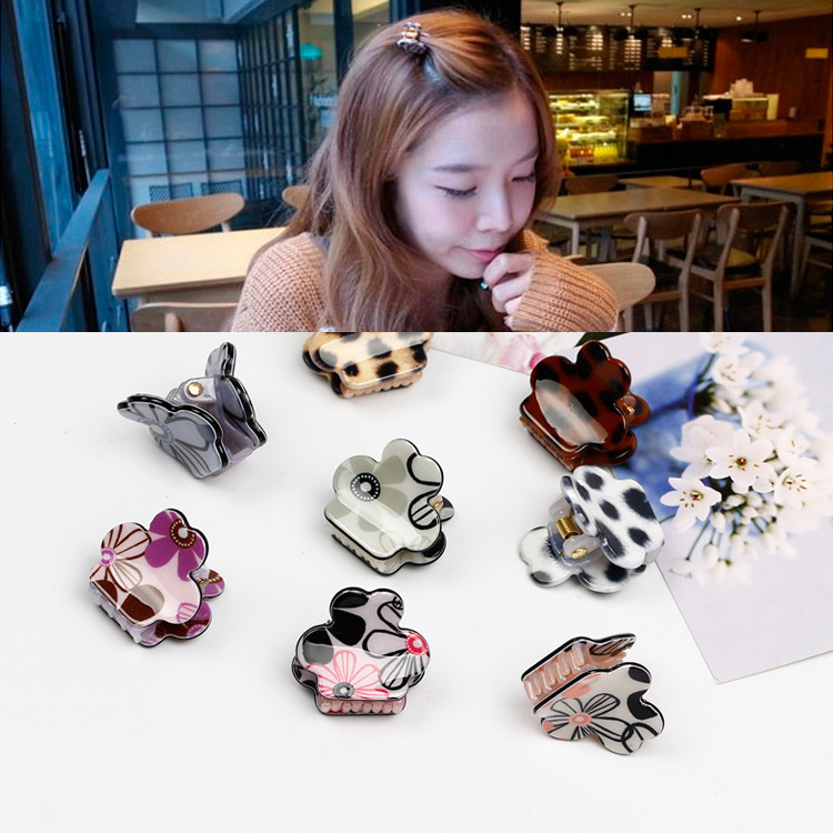 Korean version of the small gripper folder bangs clip hair accessories hairpin leopard hair caught headdress flower hair claw gripper top edge clip clip trumpet