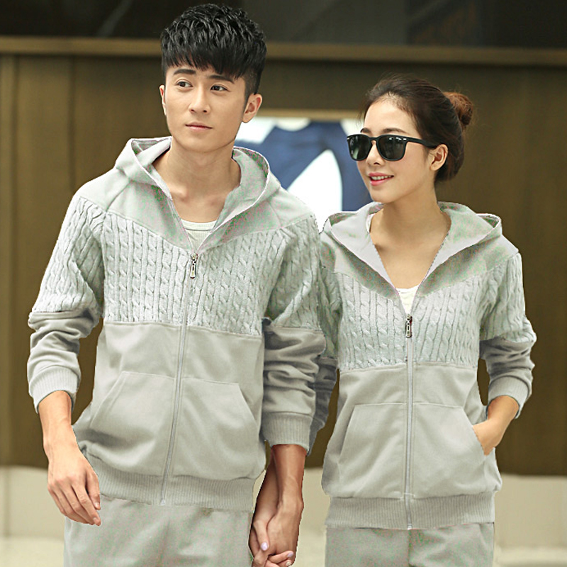 Korean version of the spring and autumn fashion sports suit sportswear piece big yards long sleeve men women couple warm suit