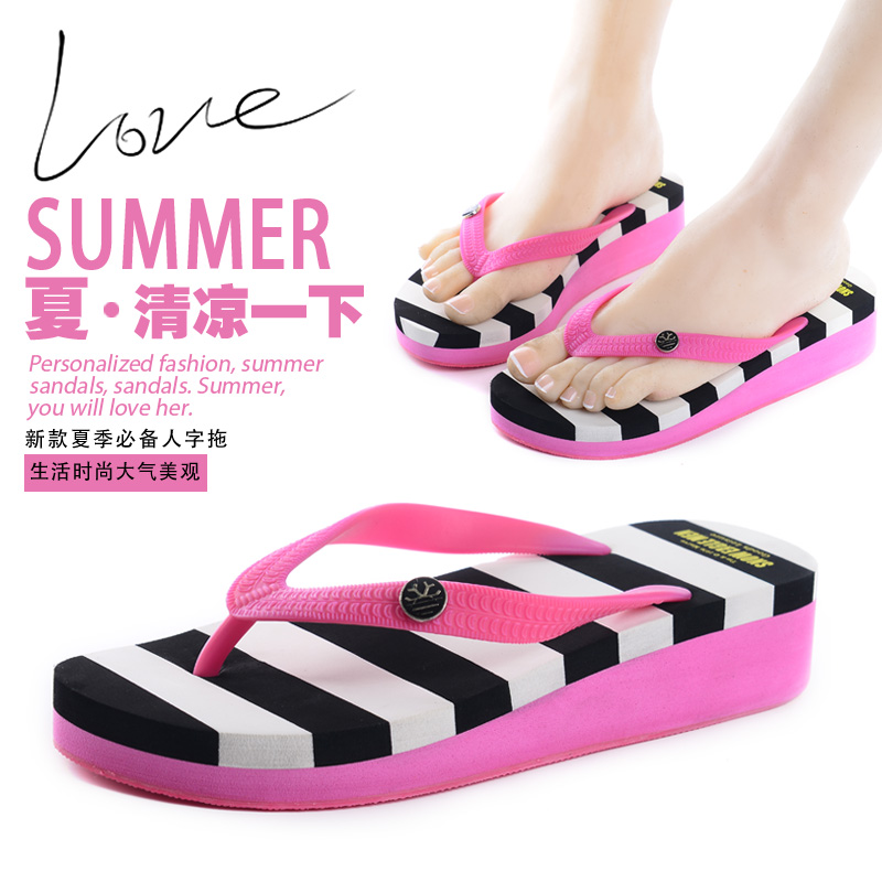 2044a986930cfb Get Quotations · Korean version of the striped wedge heel women s casual  flip-flops sandals flip flops sandals