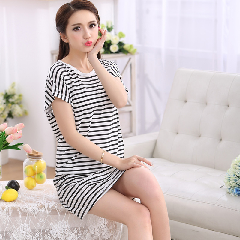 Korean version of the thin section modal nightgown pajamas female summer  short sleeve dress loose big 0129b9ce8