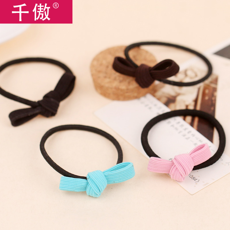 Korean version of thousands of united states a quarter-28 fresh cloth color detachable bow head flower hair accessories hair band rubber band tousheng hair tie