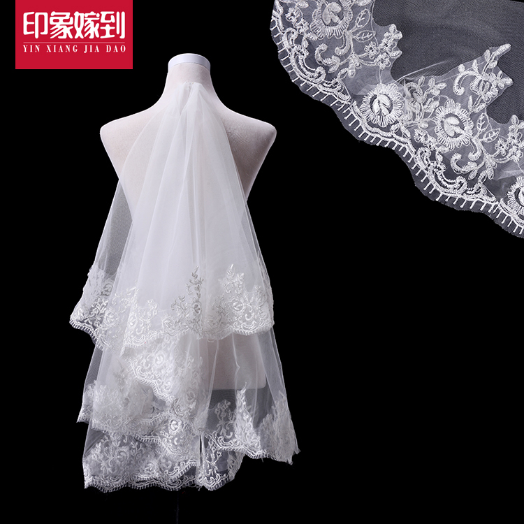 Korean white wedding veil lace bridal veil 1.8 m white wedding veil wedding ruansha