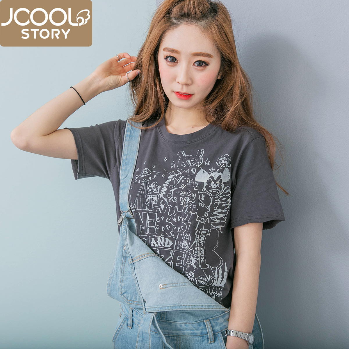 Korean women korean fan cotton pocket cartoon printed short sleeve t-shirt female korean students loose cotton shirt summer
