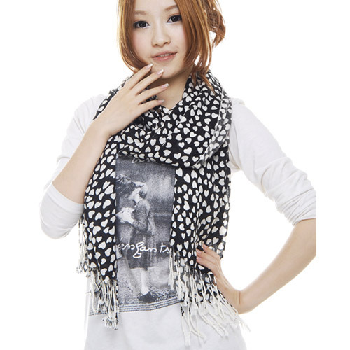Korpi korean version of the new autumn and winter days warm scarf ms. wild black love cotton long section of stream su 0076
