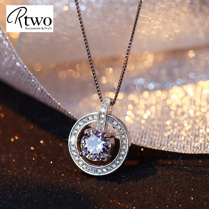 Ktwo korean single diamond ring 925 silver necklace korean female clavicle chain silver jewelry items chain necklace female accessories