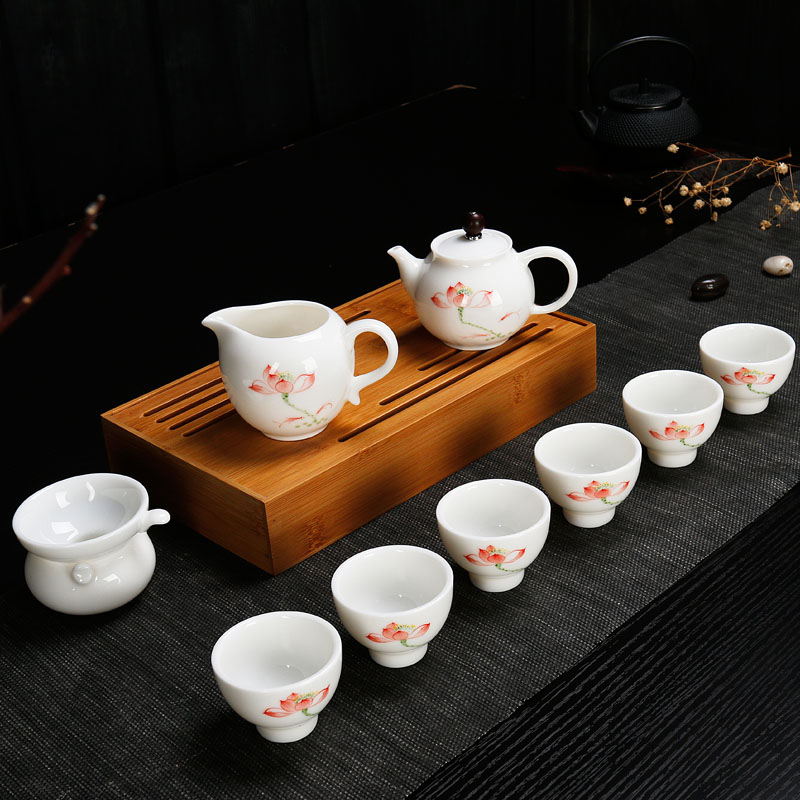 Kung fu tea set dehua painted handmade tea cup white porcelain tea cup teapot ceramic tea set