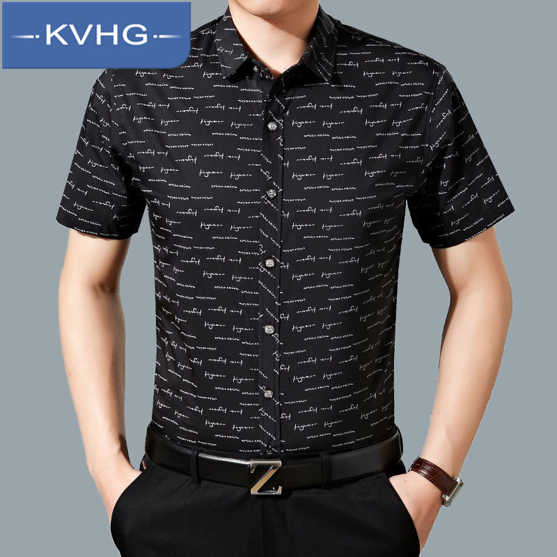 Kvhg business casual men's 2016 summer new thin wild european and american style iron short sleeve shirt tide 7967