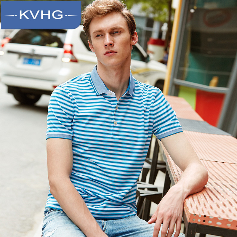 Kvhg european and american fashion simple everyday casual men's 2016 summer new men short sleeve t-shirt lapel 4644