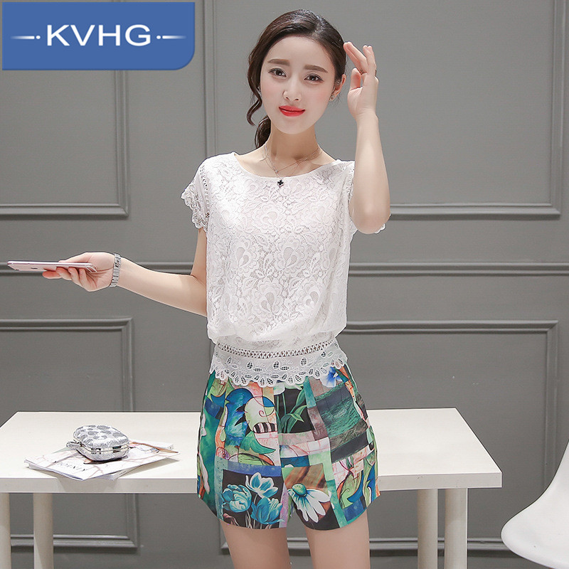 Kvhg fashion authentic women 2016 summer new printing stitching lace chiffon shirt piece shorts 7379