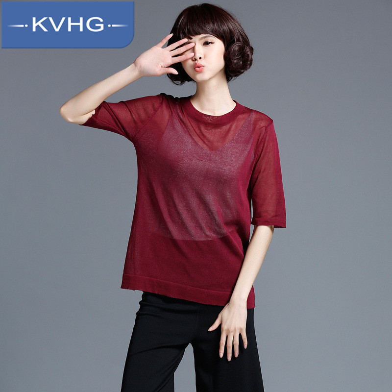 Kvhg ladieswear fashion solid color 2016 summer new korean version was thin models short sleeve sweater head sweater tide 9418