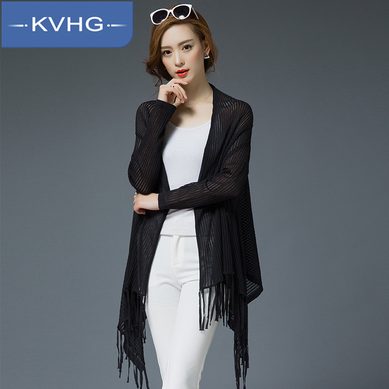 Kvhg ms. personality irregular fringed hem and long sections loose and comfortable thin section of pure color knit cardigan 4986