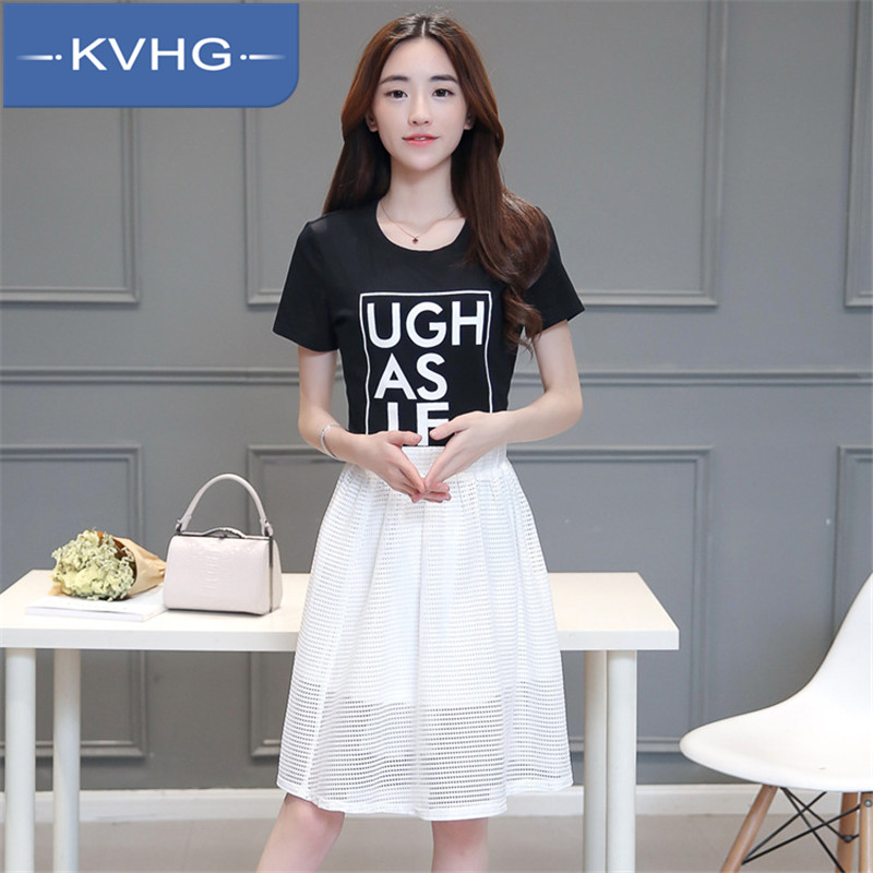 Kvhg new ms. fashion letters printed t-shirt 2016 summer thin piece fitted suit fashion suit 3799