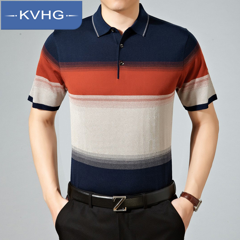 Kvhg personality spell color men's striped polo shirt iron thin section of middle-aged father loaded fashion loose t-shirt 9221