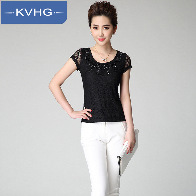 Kvhg slim was thin women's 2016 summer fashion ladies round neck beaded lace shirt bottoming shirt tide 2840