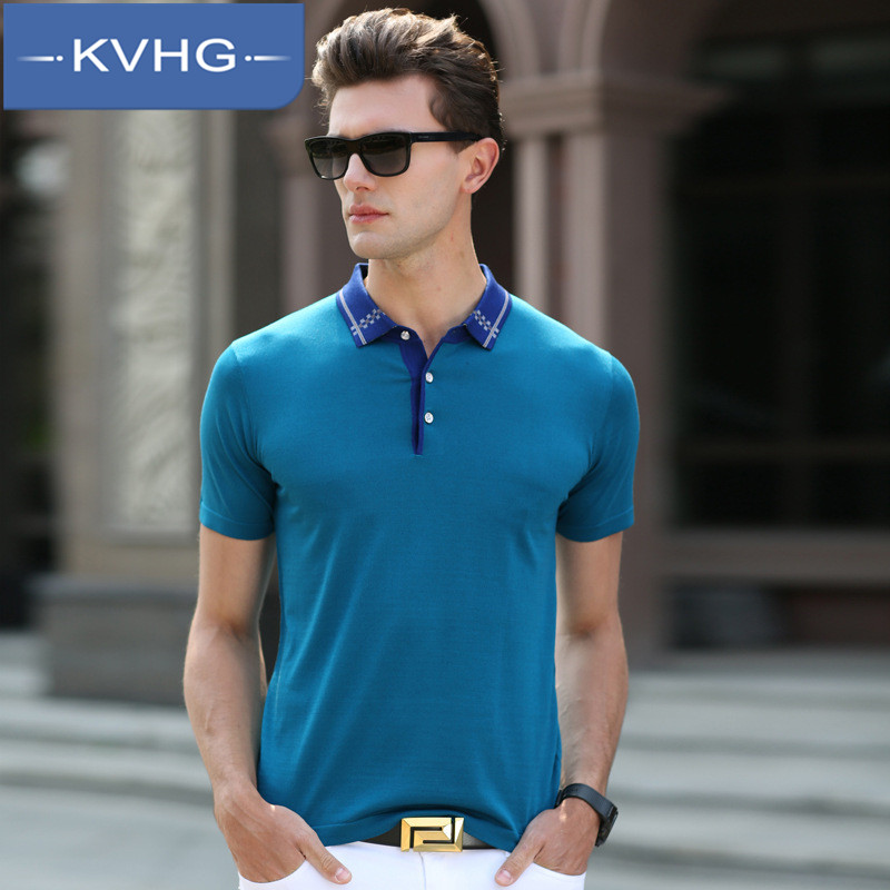Kvhg solid thin section loose and comfortable middle-aged father loaded summer fashion lapel short sleeve t-shirts for men 6457