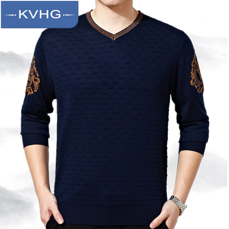 Kvhg thin section of middle-aged men's father fitted v-neck long sleeve 2016 new summer fashion loose t-shirt 6795