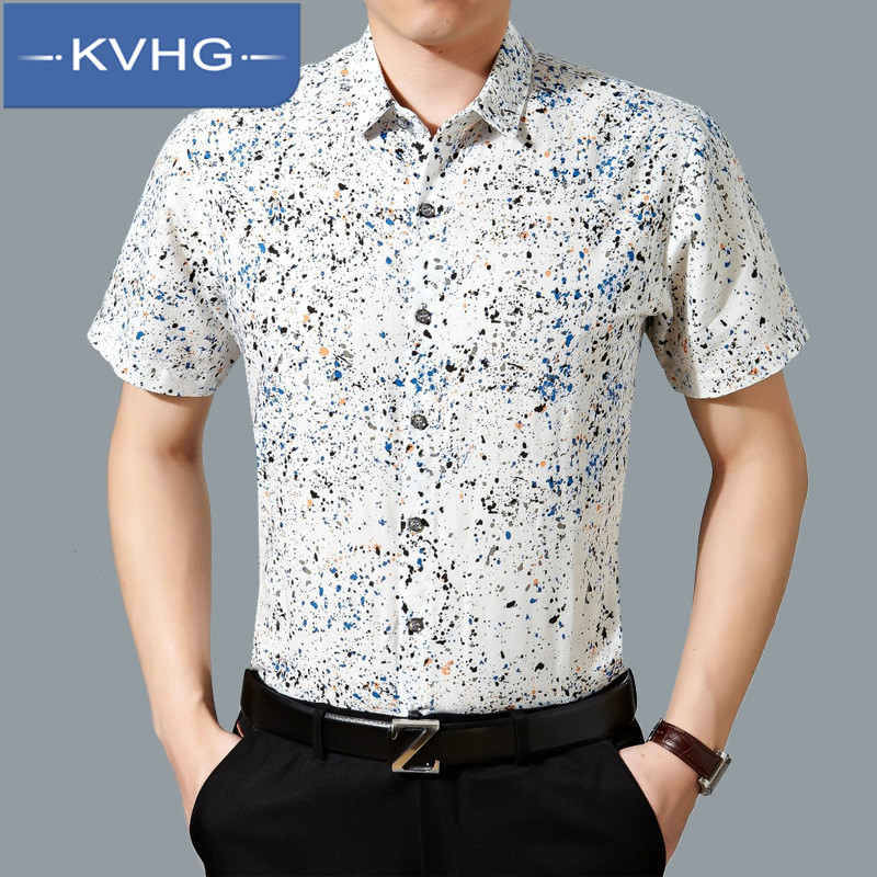 Kvhg wild loose and comfortable middle-aged casual shirt iron men's business casual men short sleeve shirt tide 1708
