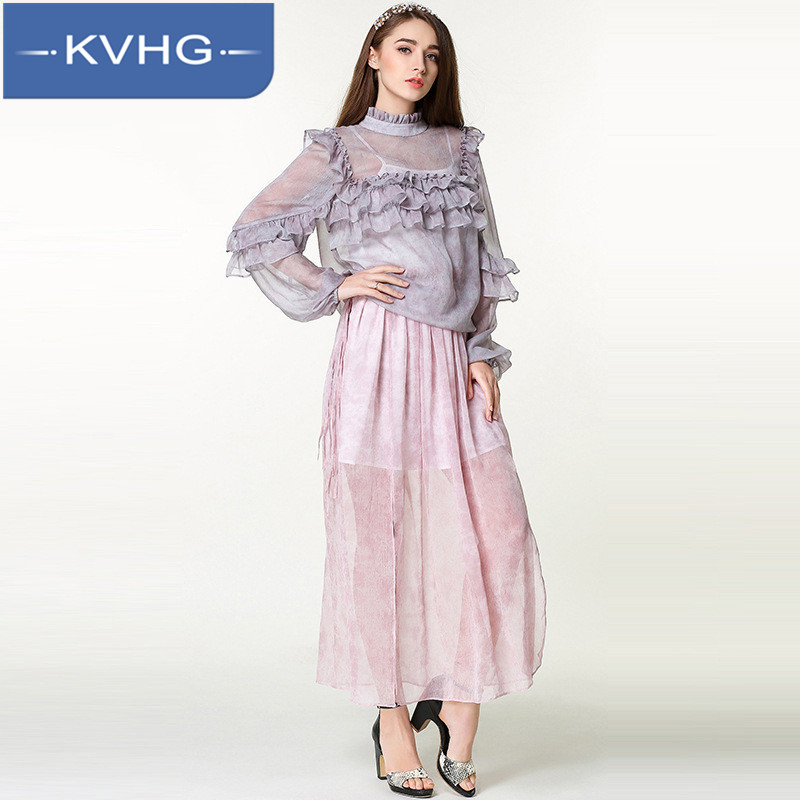 Kvhg women hedging solid color t-shirt of the new 2016 european and american fashion printed long sleeve wild flowers lace shirt female 6307