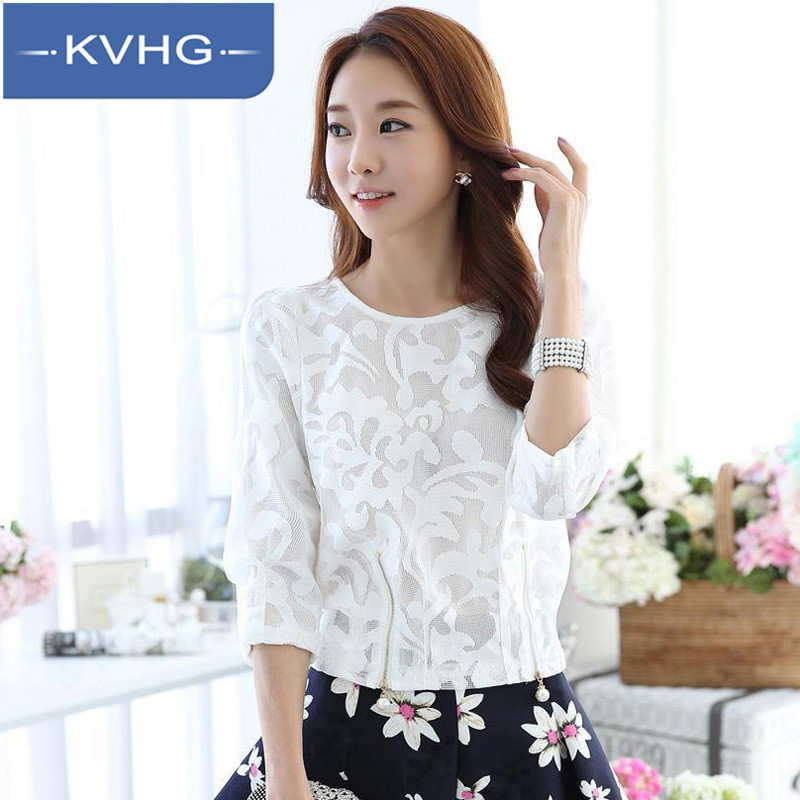 Kvhg women new 2016 summer short sleeve lace shirt embroidered stitching hit the bottom shirt shirt tide 3341