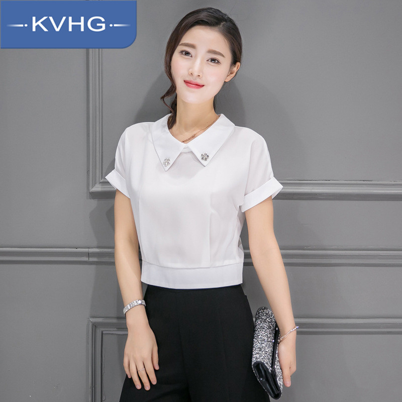 Kvhg women new 2016 summer short sleeve solid color shirt fashion loose wide leg pants suit fashion tide 2669