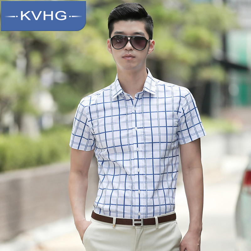 Kvhg youth summer 2016 new korean version of plaid shirt slim square collar shirt men bottoming shirt tide 7489