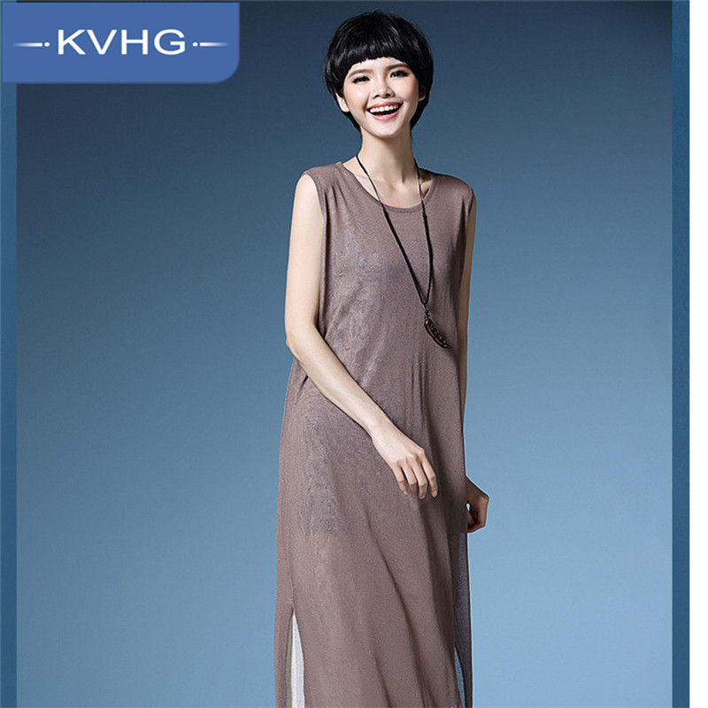 KVHG2016 fashion slim thin knit sweater women's solid color long section sleeveless jumpsuit skirt piece tide 8912