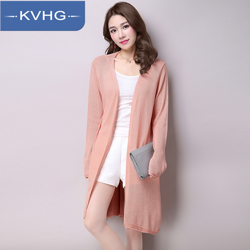 KVHG2016 new korean temperament slim girls long knit cardigan sweater thin section of pure color women's fashion 5884