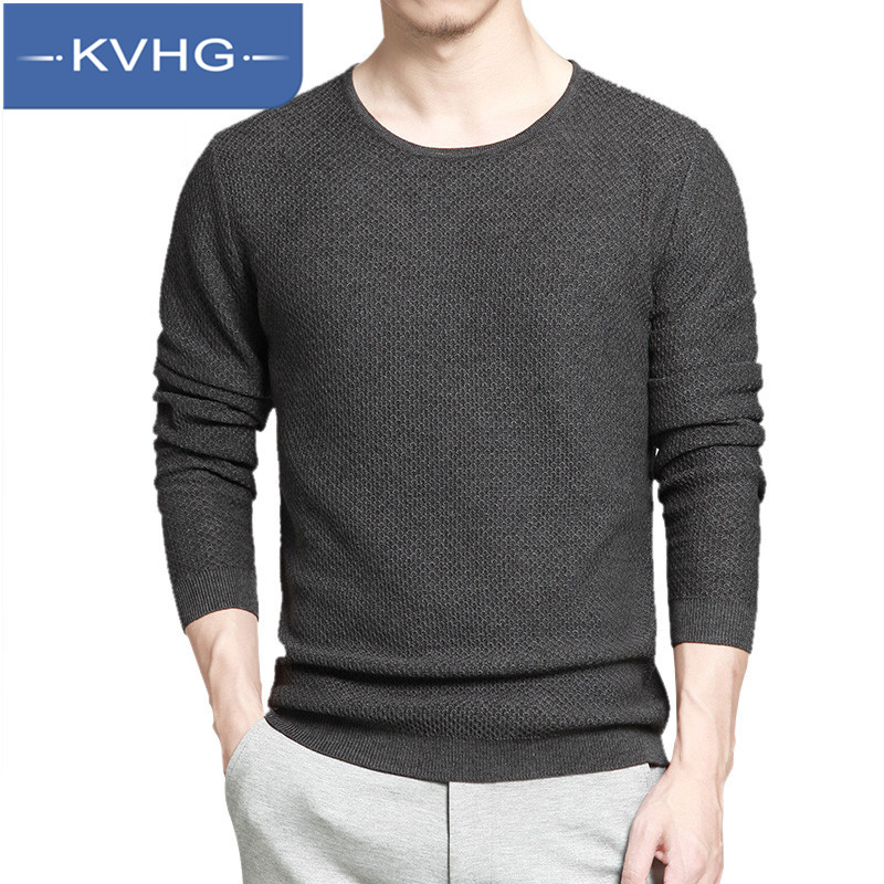 KVHG2016 new men's fashion stitching slim thin section hedging long sleeve sweater knit sweater tide 4491