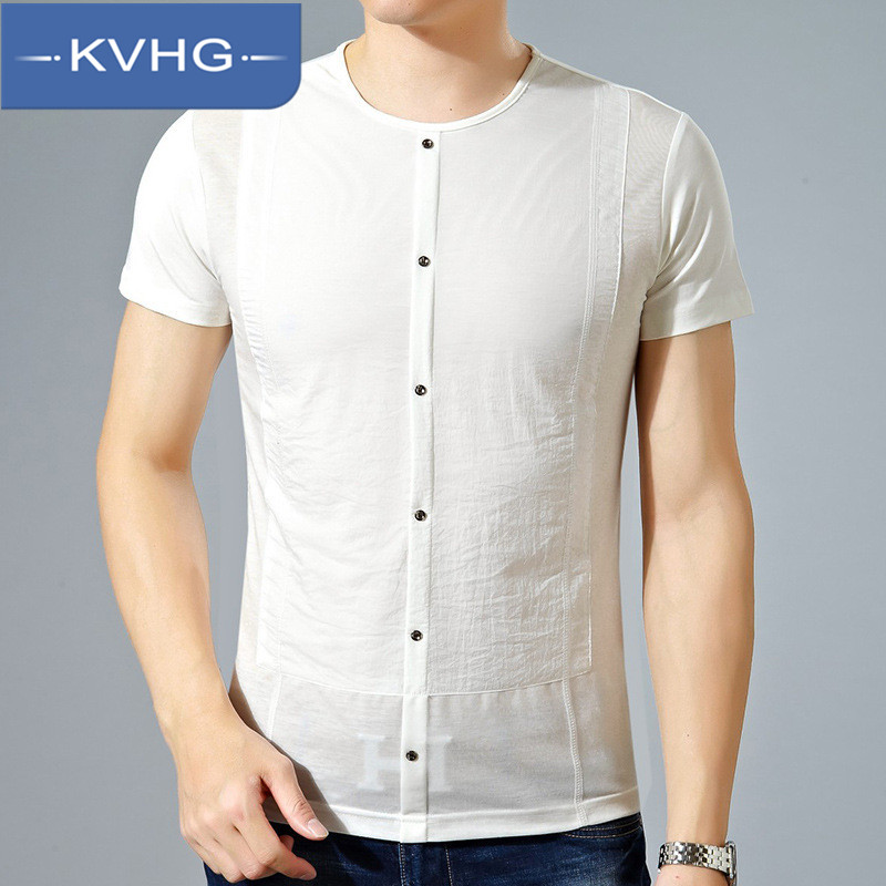 KVHG2016 new middle-aged men short sleeve t-shirt solid color bottoming shirt slim t-shirt men's comfort 9675