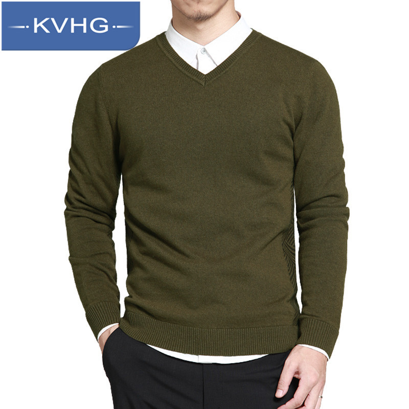 KVHG2016 new solid color v-neck sweater men hedging youth long sleeve sweater bottoming sweater slim 5253