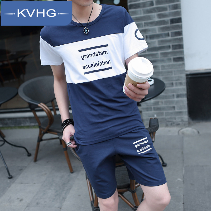 KVHG2016 suit autumn men's short sleeve t-shirt printing korean slim round neck youth fashion trousers 2493