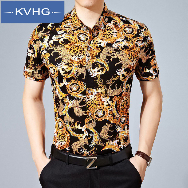 KVHG2016 summer fashion wild men's business casual korean version of the new loose short sleeve shirt tide 7486