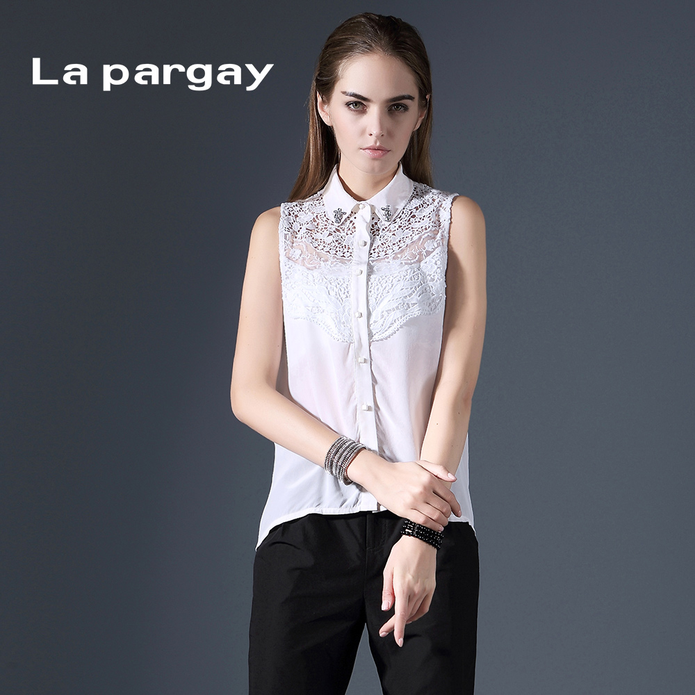 La pargay2016 a type of silk blouse summer new chain link fence decolletage L392159S