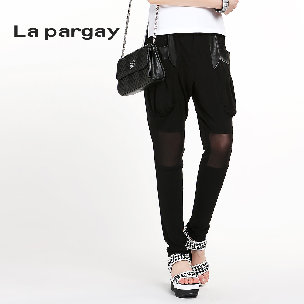 La pargay2016 L452231E summer new stitching leather casual harem pants