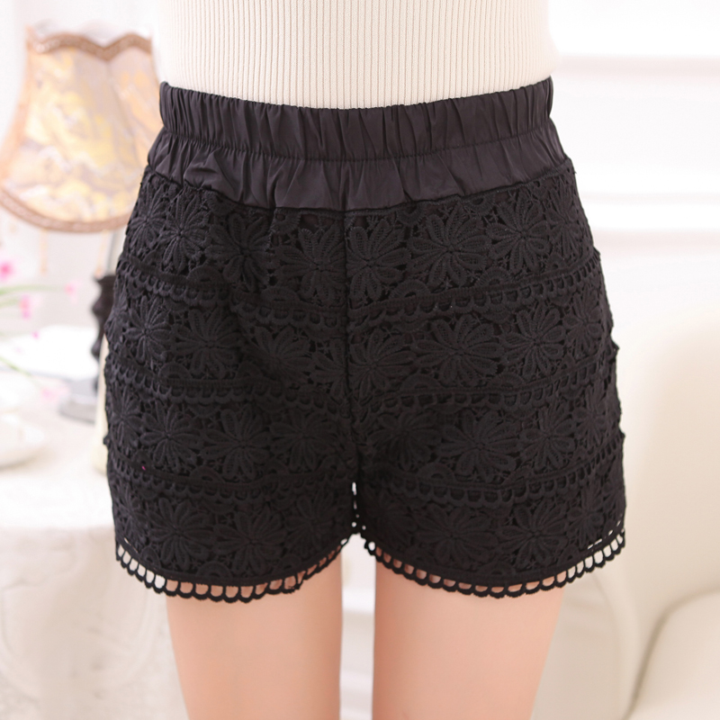 Lace shorts female spring and summer 2016 new spring loose waist casual pants slim was thin bottoming casual pants