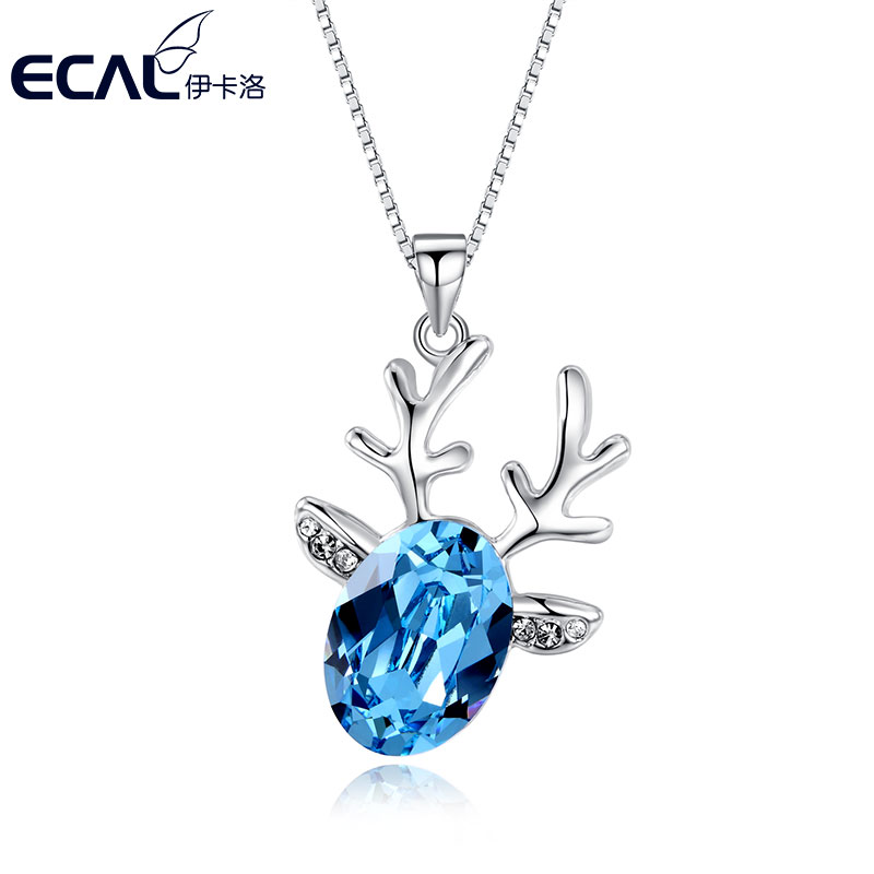 伊卡洛蒙娜ladieswear deer necklace jewelry japan and south korea exaggerated short necklace accessories summer water crystal jewelry pendant engraved name