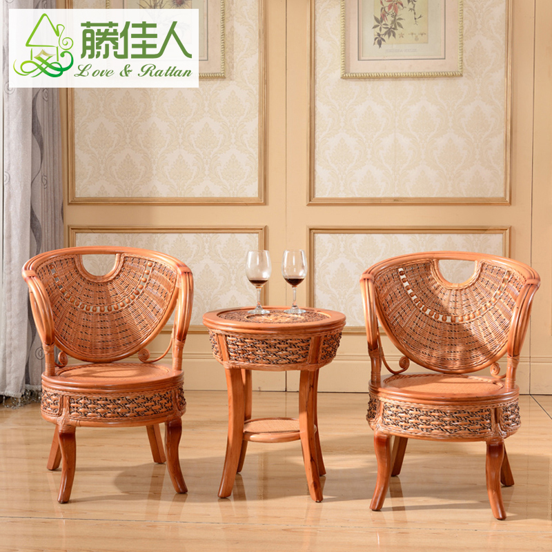 Lady rattan coffee table rattan chair combination of three sets of tables and chairs suite wicker chair coffee table and chairs courtyard terrace lounge chair