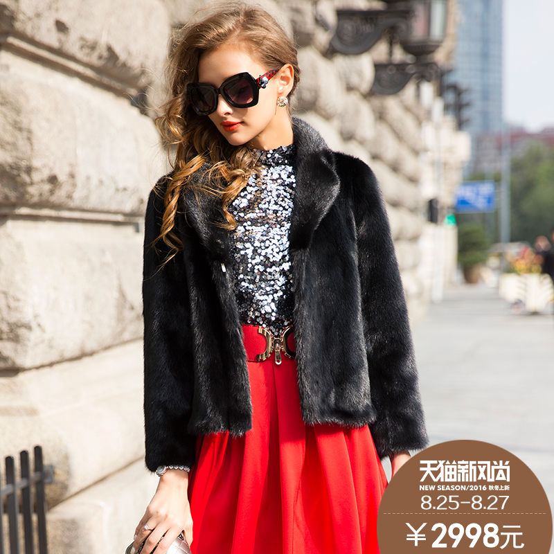 Lan mg 2015 new winter mink fur coat haining female mink whole mink grass short paragraph long sleeve coat 5168