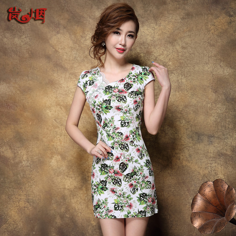 Lan smoke cheongsam dress summer fashion improved cheongsam short paragraph was thin 2016 new women's style cheongsam dress national wind